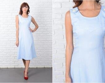 Vintage 70s Blue Mod Dress A Line Sleeveless Button Scoop neck Medium M 9506