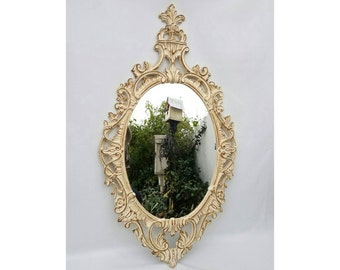 Large Vintage Cottage White and Gold Ornate Oval Wall Mirror by Turner