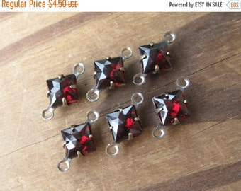 SALE 6mm Square Garnet Rauten Cut Connectors Vintage West Germany Glass 2-Loop Brass Ox Findings (6)