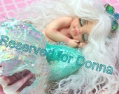Reserved for Donna OOAK art doll fantasy mermaid baby polymer clay sculpture fairy handmade collectable  IADR       free shipping