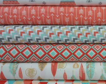 Coral Kohana Bundle from 3 Wishes Fabrics - 6 Fabrics