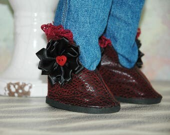 SALE, American, made, girl, doll, Ankle boots, fit 18 inch doll, doll shoes, doll clothes, bohemian, leather