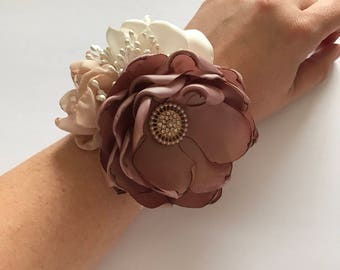 Wrist Corsage - Mauve, Champagne and Ivory Wrist Corsage - Gold Accents, Handmade Fabric Flowers, Bridesmaids, Grandmothers, Bridal Party