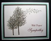 Two Patina Bronze Embossed Trees Sympathy Card