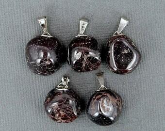 45% off Liquidation SALE Petite Black Agate Pendant- Tumbled Tourmaline Pendant with Silver Plated Bail (S81B8-03)