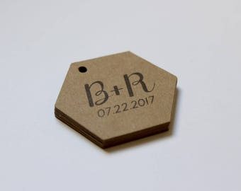 Kraft Tags Honey Jar Favors - DIY Rustic Wedding Supplies - Set of 200 Labels Personalized with the Bride + Groom Initials and Date