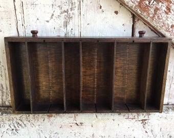 Primitive Wood Printers drawer Shelf with cubbies Curio Shelf to display knic knacks