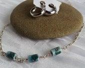 Hand Painted Art Glass Necklace, Vintage Silver Tone Hoop Earrings