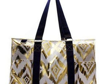 Monogrammed Metallic Gold Tote -Beach Tote -Teacher Tote -Pool bag -Beach Bag - Sports Utility tote- Other patterns available