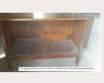 Vintage Shabby Chic tv stand, media center, PICK UP ONLY, painting inc., storage, bookcase, tv console, cabinet, entertainment center