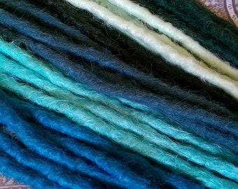 Blue dreadlocks crochet synthetic dreadlock extensions - natural look, double ended, SE, long, 25 pieces