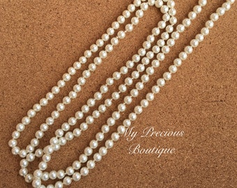 Long pearl necklace, ivory pearl necklace, double wrap necklace, photography prop necklace