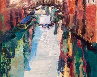 "Encaustic Wax painting ""Venice Canal II"" mosaic look expressionist Still life Oil Painting impressionist"
