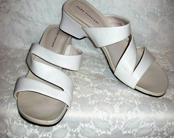 Vintage Ladies White Leather Strappy Sandals Slides by Hush Puppies Size 9 1/2 Only 6 USD