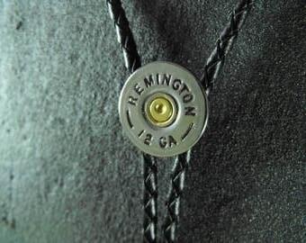 Shotgun Bolo Tie brass nickle plated Winchester AA 12 gauge with brass .17 HMR tips