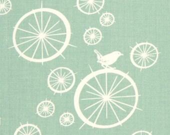 Fabric Organic Bicycle Bird on Wheel Spokes  Pool Blue Cotton Birch Organics Eco
