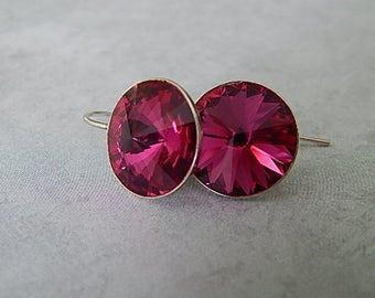 Ruby Earrings, Sterling Silver Crystal Earrings, Handmade Jewelry, Wedding Earrings, July Birthstone Jewelry