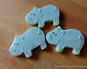 Hippo / Zoo Animal / Wild animal/ decorated sugar cookie (#2211)