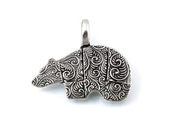 Sterling Silver, Bear Pendant, Bear Jewelry, Silver Bear, Grizzly, Black Bear, Bear Totem, Bear, Animal Totems, Totem, Totem Animal, 978t