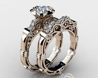 Art Masters Caravaggio 14K Rose Gold 1.0 Ct White Sapphire White Diamond Engagement Ring Wedding Band Set R623S-14KRGDWS