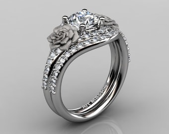 Rose Vine 10K White Gold 1.0 Ct White Sapphire Diamond Floral Engagement Ring Wedding Band Set R527S-10KWGDWS