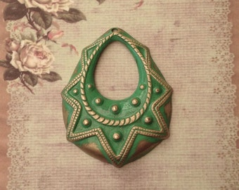 1 hand painted Brass detailed drop component. Heritage Range Green