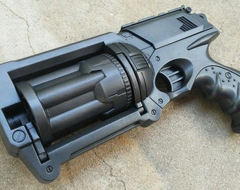 CUSTOM Nerf N-Strike Maverick Rev-6 - Apocalyptic, Zombie, Vampire, Cosplay, Steampunk Gun - (Gun Metal Black)