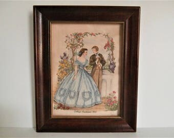 Godey's Fashions Embroidery, 19th Century Lady's Fashion, Vintage Needlework, American Fashion, Blue Dress