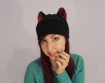 Black Red Tartan Cat Ear Fleece Winter Hat, Animal Cosplay, Unique Christmas Gift, Novelty Costume Hat, Anime, Punk