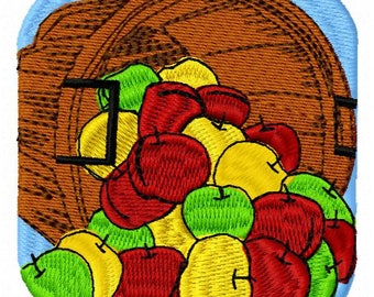 Basket of Apples Machine Embroidery Design - Instant Download