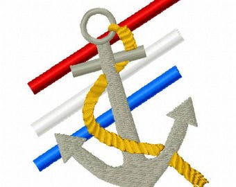 Anchor Stripes Machine Embroidery Design - Instant Download