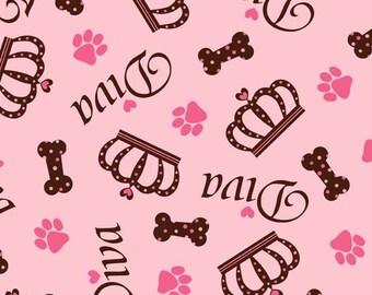 Diva Animal Lovers Dog Bone and Print Anti Pill Fleece Fabric by the yard