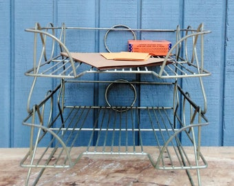 Mid Century Office File Baskets - Brass Office Baskets - Vintage Metal Office Baskets - Set of 2 Office File Baskets