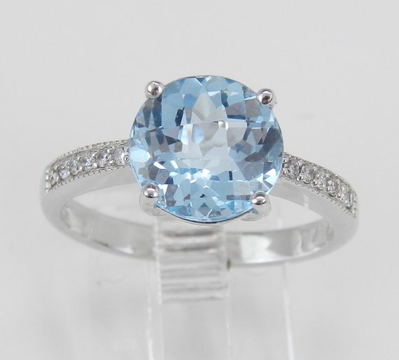 2.60 ct Diamond and Blue Topaz Engagement Promise Ring Size 7 White Gold
