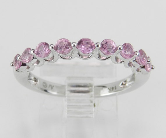 14K White Gold Pink Sapphire Wedding Ring Anniversary Band Size 7