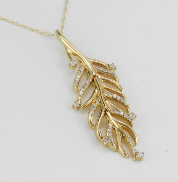 "Diamond Feather Necklace Cluster Pendant 14K Yellow Gold 18"" Chain Unique Movable Piece"