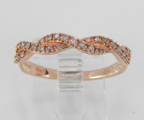 Diamond Wedding Ring Anniversary Band Rose Gold Size 6.75 Stackable Eternity