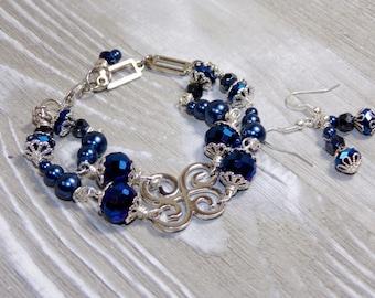 Blue Beaded bracelet set jewelry earring dangle drop bracelet earring set midnight blue pearl bracelet blue bracelet bohemian jewelry BSE003