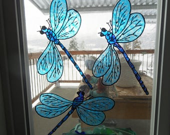 dragonfly stain glass window clings made to order - Window Clings