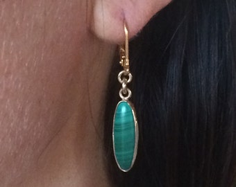 Elongated Malachite Gold-filled Earrings