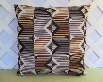 Geometric Pillow Cover in Brown Black Beige Grey Tan / Stripes Pillow / Brown Black Pillow / Aztec Pillow / Accent Pillow / 18 x 18 Pillow