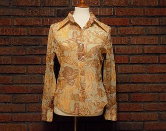 Vintage 70s Leopard Tiger Print Semi-Sheer Blouse with Butterfly Collar Women's M