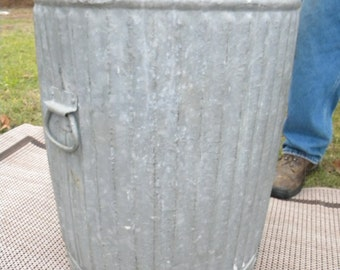 scarce nice strong 1940s super heavy gauge galvanized metal and steel INDUSTRIAL GARBAGE WASTE trash can pick up only b2