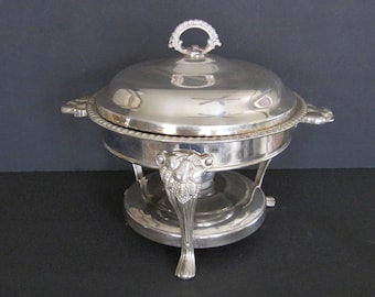 Vintage Three Piece Silver Plated Chafing Dish