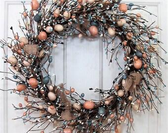 Rustic Spring Wreaths - Farmhouse Egg Wreath - Easter Egg Wreath - Primitive Wreath - Easter Home Decor - Easter Door - Spring Front Door