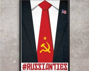 Russian Ties Trump Poster, POTUS Russian Ties Government Political Propaganda Poster or Framed Print