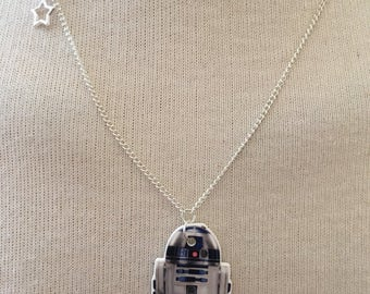 Silver Plated Handmade R2-D2 Star Wars Necklace
