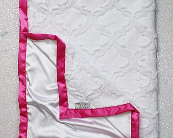 Minky Blanket, White blanket, baby girl, white and pink, lattice minky, silky blanket, satin and minky, hot pink, Silk and Minky, Satin