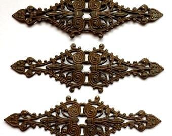 Rusty Black Filigree, Bar Pin Style, Bracelet Bar, Filigree, Brass Stampings, B'sue Boutiques, Us Made, Nickel Free, 22 x 68mm, Item0455