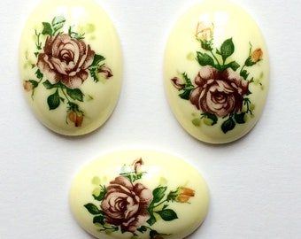 Vintage Floral Cameos, Rose Decal Cameos, Plastic, German Decal Cameos, Jewelry Supplies, High Dome Cabs, B'sue Boutiques, 25x18mm,Item01087